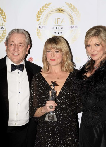 14 Presenters Mark Wingett and Claire King with winner of best screenplay Aleki Blythe