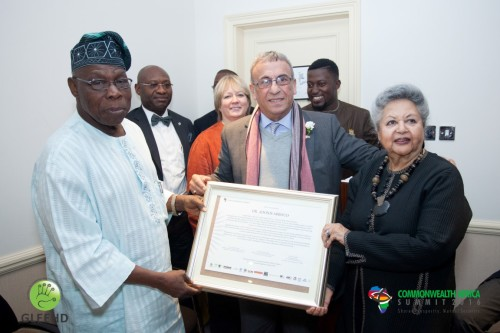 Chairman of DSTV Sierra Leone Adonis Abboud received Awards from Commonwealth Africa Co Chairs Obasanjo and Baroness Flather (Medium)