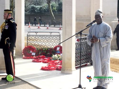 Chief Obasanjo speaking at Wreath laying (Medium)