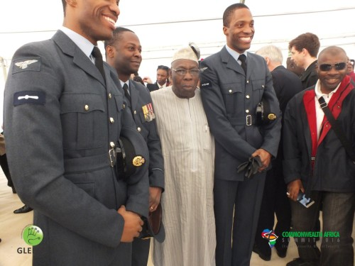 Chief Obasanjo with two Nigerians in the British Air force (Medium)