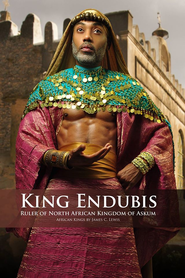 King Endubis (c. 270 - c.330) was one of the first rulers of Axum or Askum which was a powerful North East African Empire which rose to power after the decline of Ancient Egypt and Nubia. Axum is credited with conquering and bringing the ultimate end of the Kingdom of ancient Meroe (Nubia). Axum controlled the horn of Africa to across the Red Sea into the Arabian plateau. Endubis was the first king of Ancient Africa to mint coinage, and following Endubis, all Axumite (Ethiopian) Emperors minted their own coinage: gold, silver and bronze pieces with their faces and motto. Model: Antonio O. | Stylist & photographer: James C. Lewis — with Marlene William-Elisha.