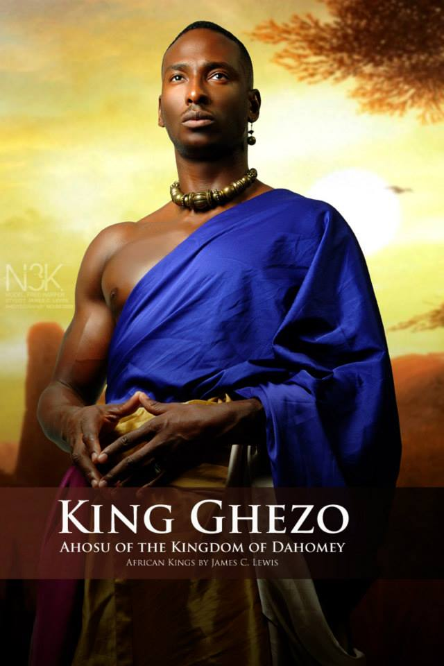 Ghezo or Gezo was an Ahosu (King) of the Kingdom of Dahomey, in present-day Benin, from 1818 until 1858. Ghezo replaced his brother Adandozan (ruled 1797 to 1818) as king through a coup with the assistance of the Afro-Brazilian slave trader Francisco Félix de Sousa. He ruled over the kingdom during a tumultuous period, punctuated by the British blockade of the ports of Dahomey in order to stop the Atlantic slave trade. | Model: Fredrick Harper| stylist & photographer: James C. Lewis — with GianPiermaria Barbieri and Marlene William-Elisha.