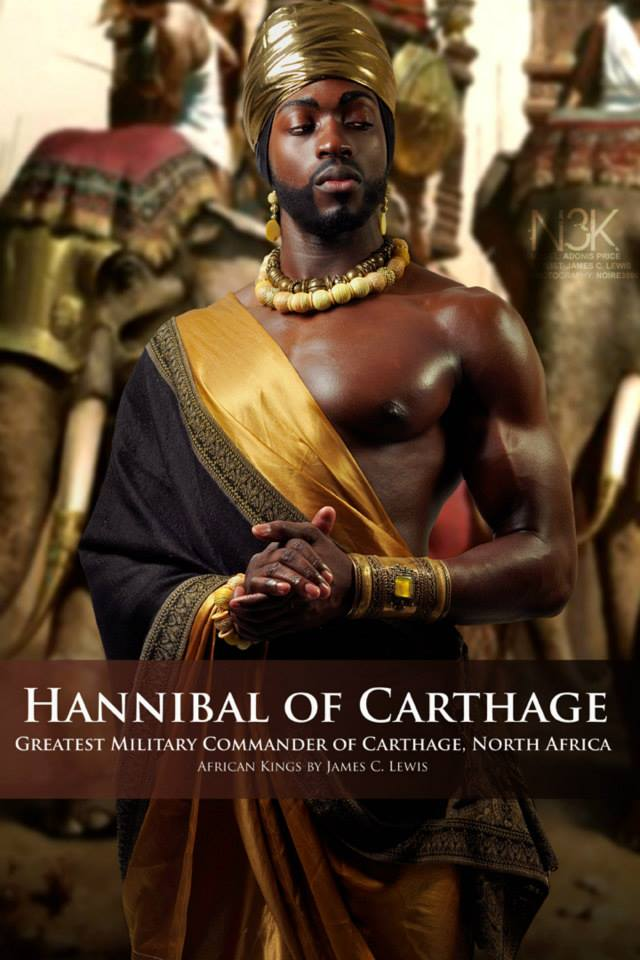 """Hannibal Barca (247 BC - 183 BC) was an African Carthaginian military commander, generally considered one of the greatest military commanders in history. Also creditd for having major victories against the Roman Empire with his mighty warriors that marched into battle on the backs of great elephants! He was later defeated by the Roman Empire and returned to Carthage, North Africa where he was elected to the """"Office of Suffete"""" which was the Highest Appointed Official in Carthage at that time. SIDE NOTE: Contrary to the incorrect depictions passed down through history, Hannibal was NOT a White man. He was in fact a Black man of North Africa and the coins baring his likeness in the attached article clearly tell the real truth of who he was: http://www.blackhistoryheroes.com/2012/07/hannibal-barca-of-carthage-north-africa.html 