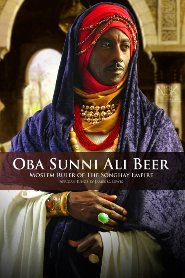 King or Oba (as it is known in West Africa) Sunni Ali Beer (circa 1442-1492) built the largest most powerful empire in West Africa during his 28-year reign. With a remarkable army,he won many battles, conquered many lands, seized trade routes and took villages to build the Songhay empire into a major center of commerce, culture and Muslim scholarship. | Model: Tony Jackson | stylist & photographer: James C. Lewis — with Chris Anthony, GianPiermaria Barbieri and Marlene William-Elisha.