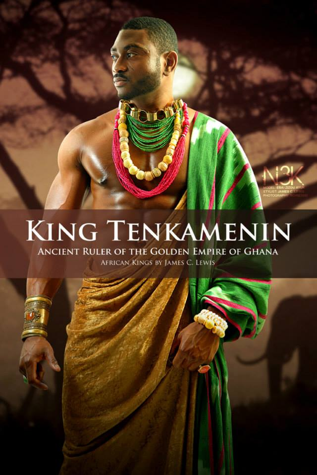 King Tenkamenin of Ghana (1037-1075 AD) Through careful management of gold trade across the Sahara, Tenkamenin's empire flourished economically yet his greatest strength was in government. He listened to his people and provided justice for all of them. His principles of democratic monarchy and religious tolerance make him one of the great models of African rule. | Model: Ebai Ayuk-Enow | stylist & photographer: James C. Lewis — with GianPiermaria Barbieri and Marlene William-Elisha.