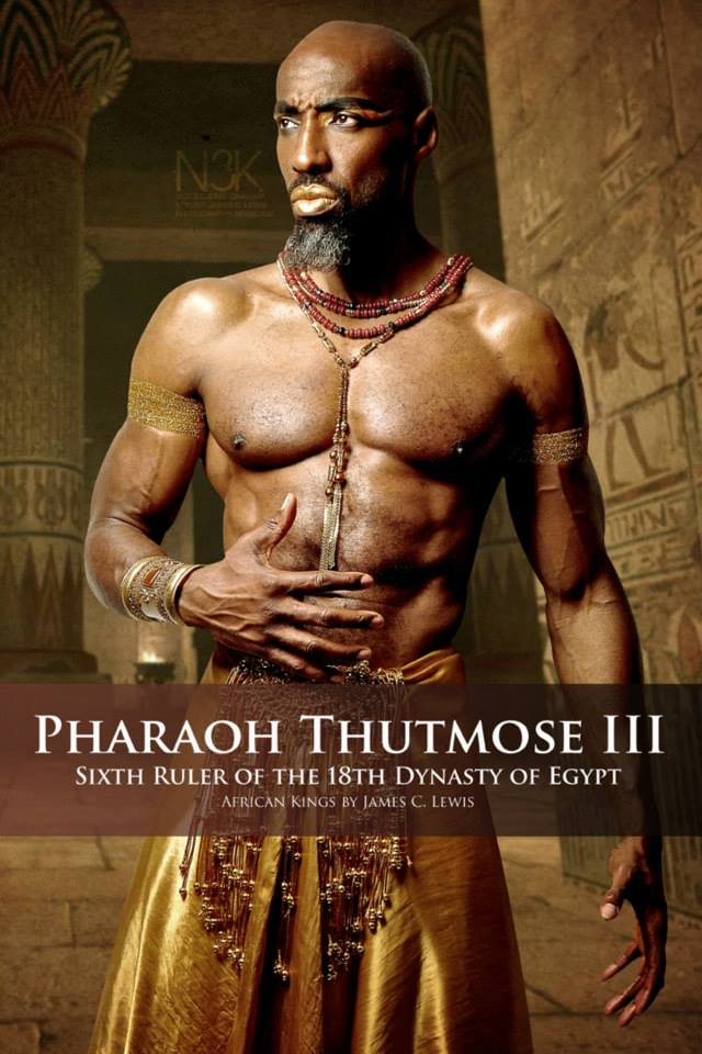 Thutmose III (1481 BC - 1425 BC) was the sixth Pharaoh of the Eighteenth Dynasty. Thutmose III ruled Egypt for almost fifty-four years, and his reign is usually dated from April 24, 1479 BC to March 11, 1425 BC; however, this includes the twenty-two years he was co-regent to Hatshepsut. During the final two years of his reign, he appointed his son and successor, Amenhotep II, as his junior co-regent. | Model: Eric Graham | stylist & photographer: James C. Lewis — with GianPiermaria Barbieri and Marlene William-Elisha.
