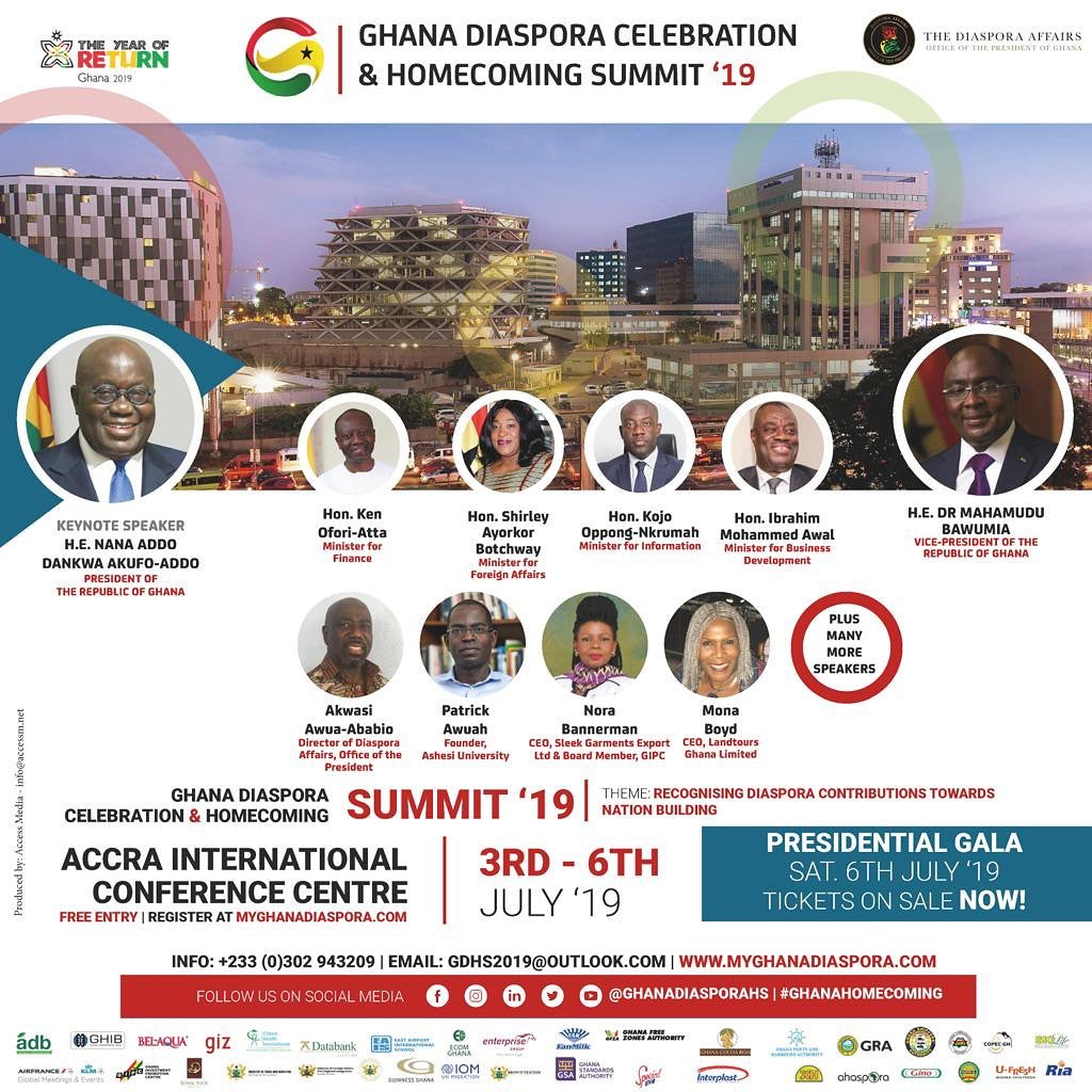DIASPORA CELEBRATION & HOMECOMING SUMMIT 2019 FLYER WITH SPEAKERS