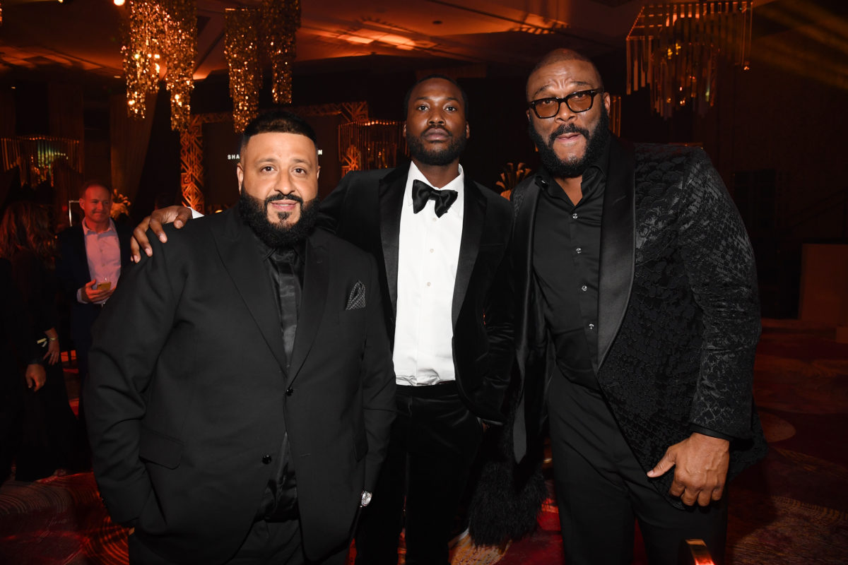 DJ Khaled, Meek Mill and Tyler Perry at the Inaugural Shawn Carter Foundation Gala
