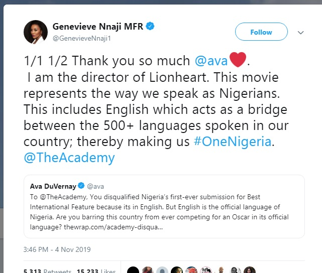 Genevieve Nnaji on 'Lionheart' disqualification from The Academy.