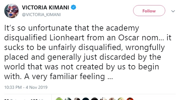 Victoria Kimani on 'Lionheart' disqualification from The Academy.