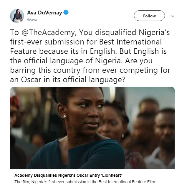 Ava DuVernay on 'Lionheart' disqualification from The Academy.