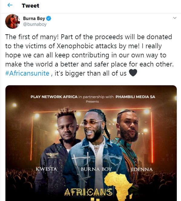 Burna Boy Wants To Support Victims Of Xenophobic Attack In South Africa