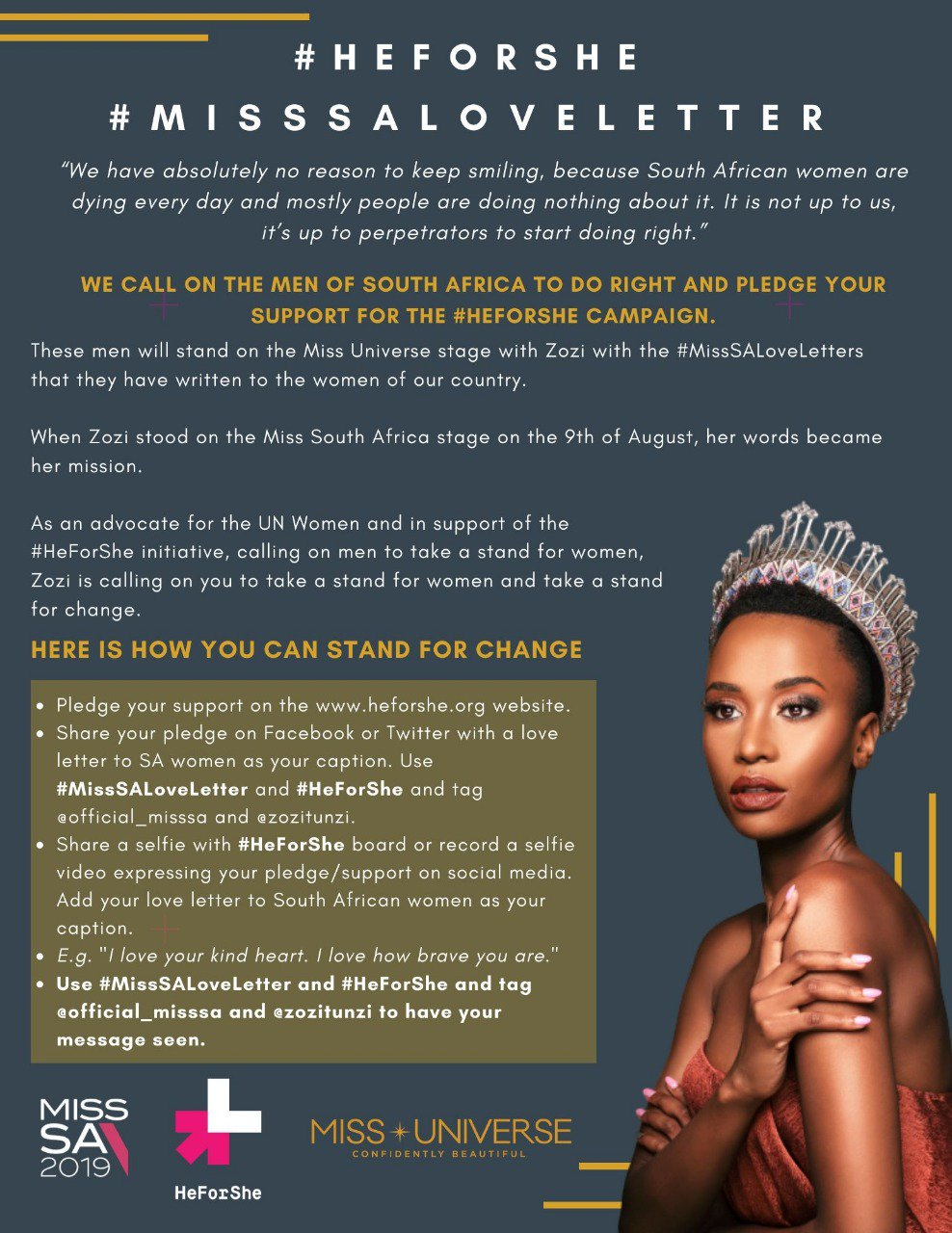 Miss South Africa Zozibini Tunzi Starts 'He For She' Campaign To Fight Against Gender-Based Violence Using Love Letters From Men