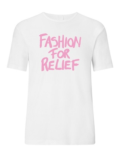 Fashion For Relief T-Shirt, and other items will be available at the pop-up shop.