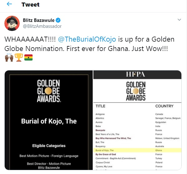 Blitz the Ambassador's tweet about 'The Burial Of Kojo' in the Golden Globe race.
