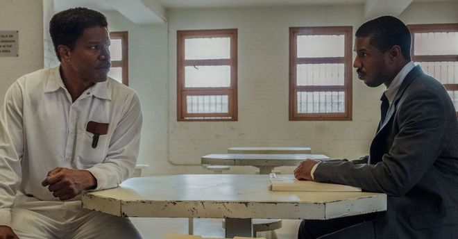 A scene from Just Just Mercy with Michael B. Jordan and Jamie Foxx