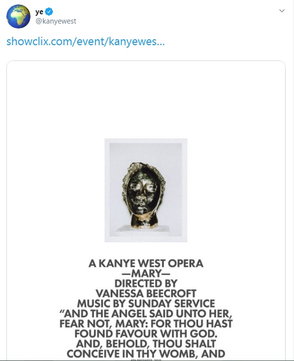 Kanye West tweets about his new opera titled Mary.