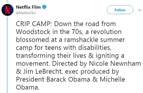 Netflix announces 'Crip Camp' from The Obamas