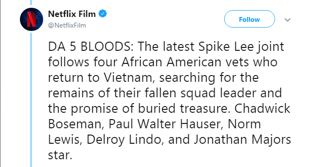 Netflix announces 'Da 5 Bloods' from The Obamas