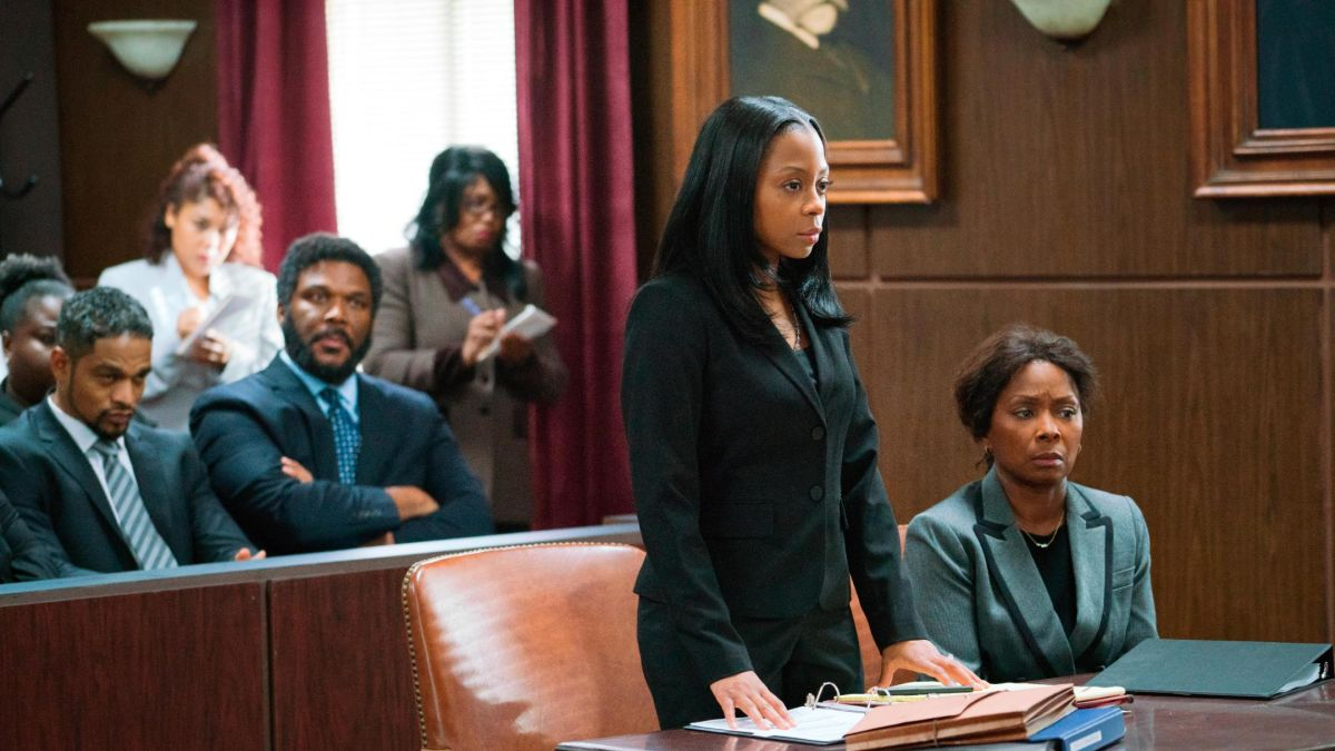 A scene from A Fall From Grace starring Tyler Perry, Bresha Webb, Crystal R. Fox, others.