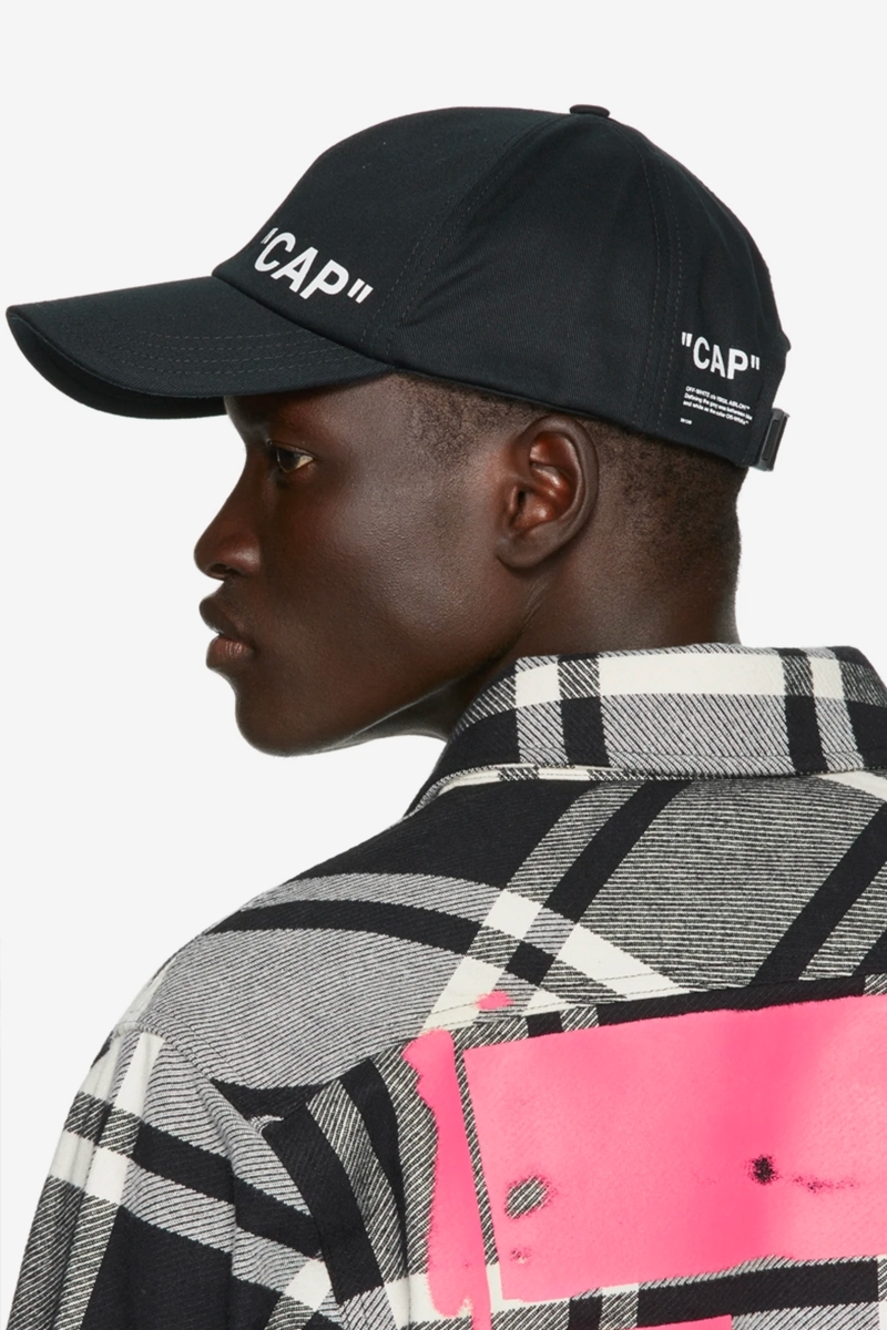 Off-White Unveils An Exclusive Black Quote Baseball Cap In Partnership With SSENSE