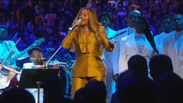 Beyoncé performing at the service for the late Kobe and Gianna Bryant.