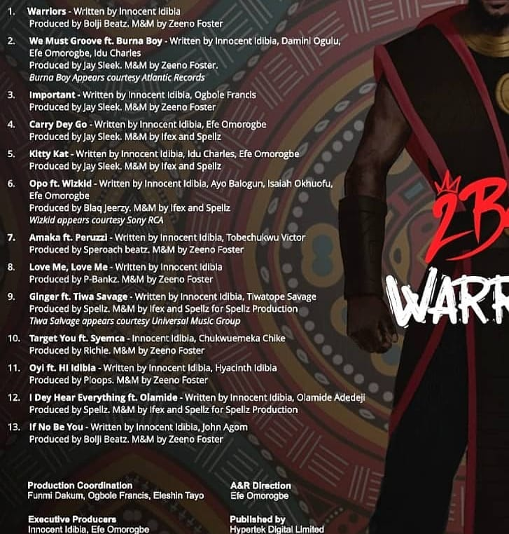 Tracklist for Warriors by 2Baba.