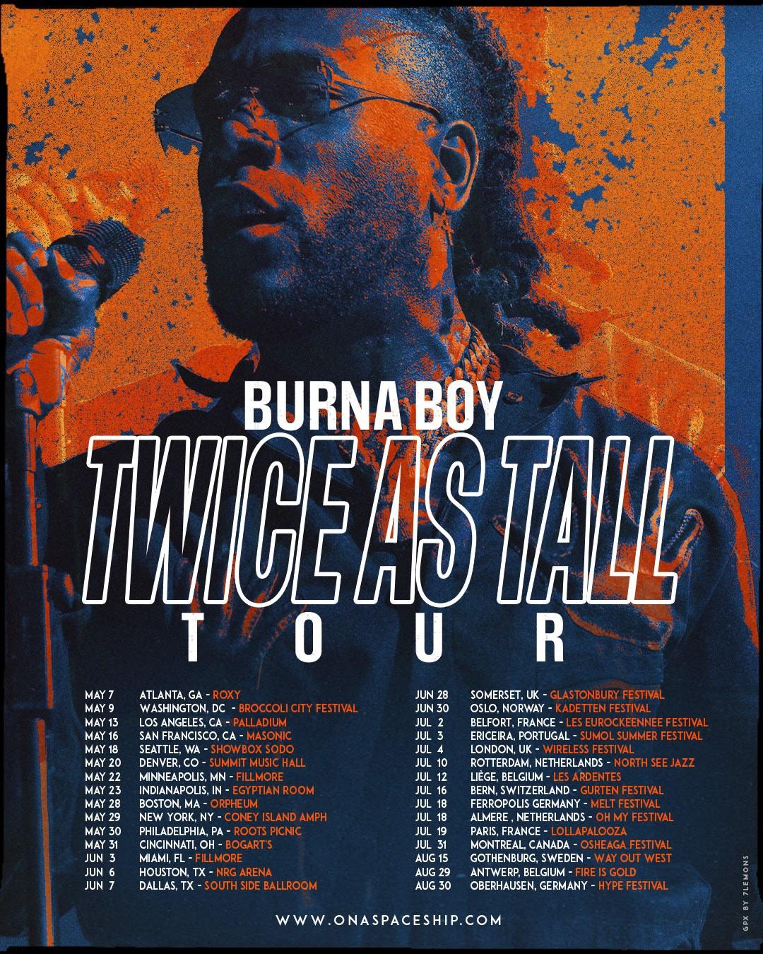 Burna Boy Announces Twice As Tall Tour