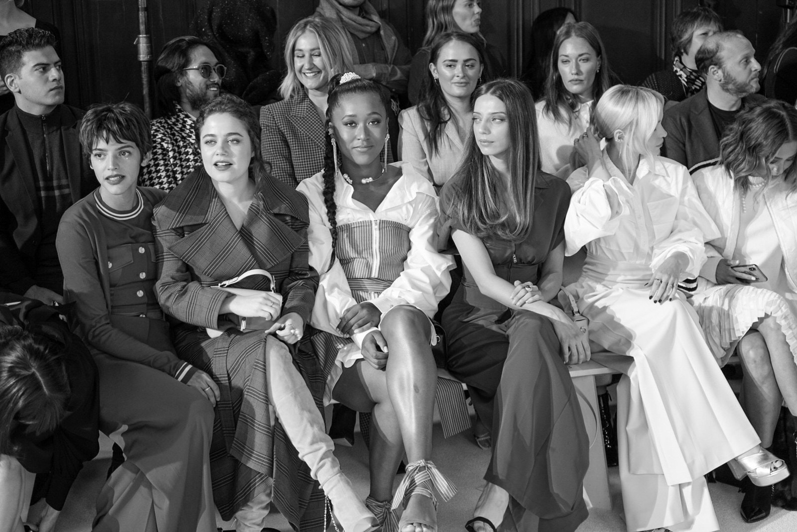 Naomi Osaka sitting at the front row with friends at New York Fashion Week