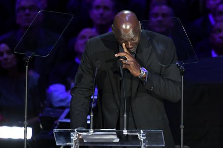 Michael Jordan at the service for the late Kobe and Gianna Bryant